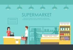 Люди в супермаркете Иллюстрация вектора плоская Гастроном Стоковое Изображение RF