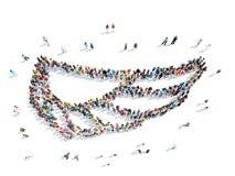 Люди в форме крыла иллюстрация вектора