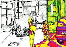 Люди в coutyard Иллюстрация штока