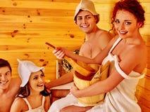 Люди группы в шляпе на сауне Стоковое Изображение
