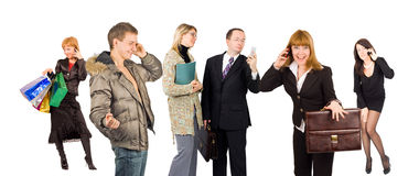 люди группы involved знонят по телефону говорить Стоковые Фото