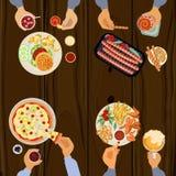 Люди едят обед бесплатная иллюстрация