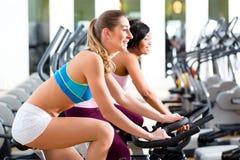 Люди закручивая в спортзал на велосипедах Стоковое Изображение