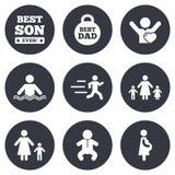 Люди, значки семьи Заплывание, знаки младенца иллюстрация вектора