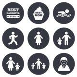 Люди, значки семьи Заплывание, знаки персоны иллюстрация вектора