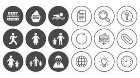 Люди, значки семьи Заплывание, знаки персоны иллюстрация штока
