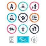Люди, значки семьи Знак бассейна Стоковые Фотографии RF