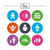Люди, значки семьи Знак материнства Стоковое Изображение