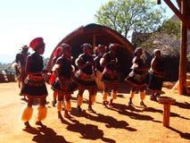Люди Зулуса в традиционных одеждах 18-ое апреля 2014 Kwazulu Natal Стоковое Изображение