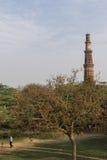 Люди играя сверчка в парке mehrauli археологическом и Qutub Minar увиденного в предпосылке стоковые изображения rf