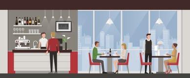 Люди имея обед в роскошном ресторане иллюстрация вектора