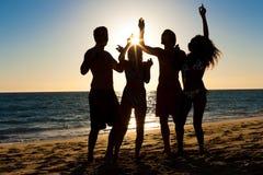 Люди имея партию на пляже с пить Стоковые Фотографии RF