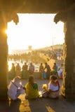 Люди индейцев Kanyakumari выравнивая отдых Стоковое фото RF