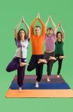 Люди и женщины делают йогу в предпосылке зеленого цвета студии Стоковое Изображение RF