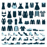 Люди и одежды и ботинки женщин значки - иллюстрация Стоковые Фотографии RF