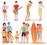 Люди и пары на пляже каникул party собрание Установленные летние отпуска Стоковые Фото