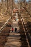 Люди идут весной парк над взглядом Стоковая Фотография