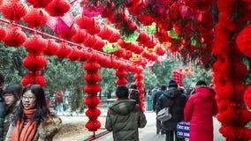 Люди идут под красные фонарики на виске Ditan справедливо во время фестиваля весны в Пекине, China3 видеоматериал