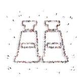 Люди идя в бинокли иллюстрация 3d перевод 3d Стоковое Изображение