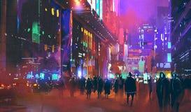 Люди идя в город научной фантастики на ноче с красочным светом иллюстрация штока