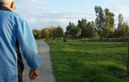 Люди идя в парк на заходе солнца Стоковая Фотография RF