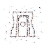 Люди идя в точилку для карандашей иллюстрация 3d перевод 3d Стоковые Фото
