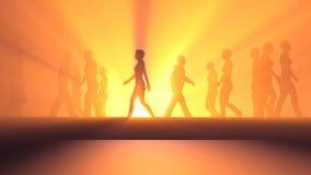Люди идя в туман иллюстрация вектора