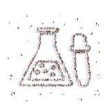 Люди идя в химический шарик иллюстрация 3d перевод 3d Бесплатная Иллюстрация