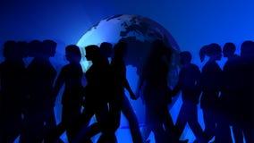 Люди идя глобусом мира иллюстрация вектора