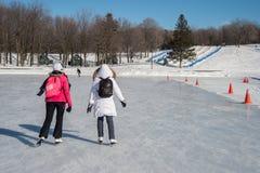 Люди катаясь на коньках на катке катания на коньках озера бобр Стоковые Фото