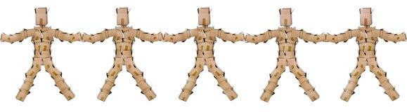 Люди коробки соединяя руки Стоковая Фотография