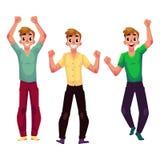 Люди, мальчики, парни, друзья радуясь, веселящ, обхватывая кулаки в ободрении Стоковые Фото