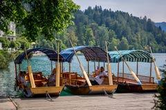 Люди наслаждаясь летом на озере пляжа в Словении Стоковая Фотография RF