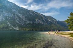 Люди наслаждаясь летом на озере пляжа в Словении Стоковые Изображения RF