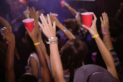 Люди наслаждаясь концертом музыки стоковое изображение