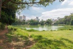 Люди наслаждаясь парком Aclimacao в Сан-Паулу Стоковое Фото