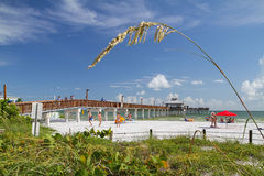 Люди наслаждаясь Fort Myers приставают пристань к берегу в Флориде, США Стоковые Изображения