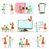 Люди находя влюбленность и датируя используя вебсайты датировка и App на иллюстрации Infographic Smartphones и компьютеров иллюстрация вектора