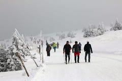 Люди на горе в зиме Стоковая Фотография