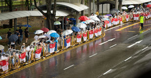 Люди на государственных похоронах Лее Куан Ыеш Стоковое Изображение