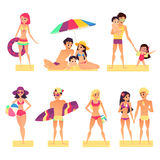 Люди на каникулах Плоская иллюстрация вектора стиля Загорать счастливых и маленьких девочек и мальчиков Стоковое Изображение RF