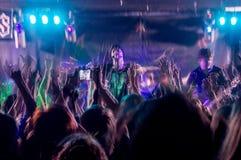 Люди на концерте музыки, партии утеса Стоковые Изображения RF