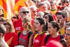 Люди на независимости ралли требовательной для Каталонии Стоковое Изображение