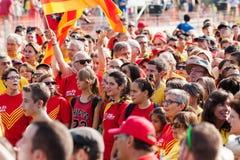 Люди на независимости ралли требовательной для Каталонии Стоковые Фотографии RF