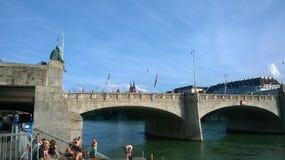 Люди на Wettstein-мосте, Basle Стоковые Фотографии RF