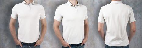 Люди нося пустую белую рубашку стоковая фотография rf