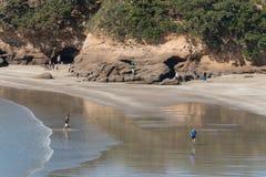 Люди ослабляя на пляже в заливе анкера Стоковые Фотографии RF