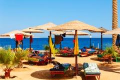 Люди отдыхая на пляже Стоковая Фотография RF