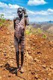 Люди долины Omo - Mursi покрашенный человек стоковые изображения