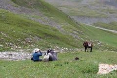 Люди показывая некоторый пункт в горах Тянь-Шань Стоковые Изображения RF